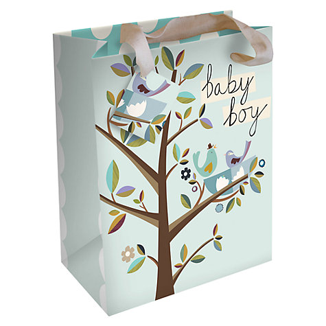 Buy Caroline Gardner Baby Boy Birds Gift Bag, Blue, Large Online at johnlewis.com