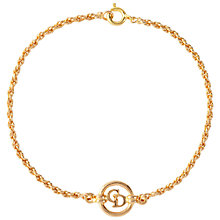 Buy Susan Caplan Vintage 1990s Christian Dior Logo Circle Bracelet, Gold Online at johnlewis.com