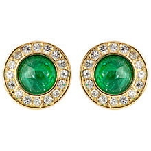 Buy Susan Caplan Vintage 1960s Christian Dior Pearl Swarovski Crystal Clip-On Earrings, Green Online at johnlewis.com
