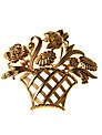 Alice Joseph Vintage 1980s Monet Gilt Plated Flower Basket Brooch