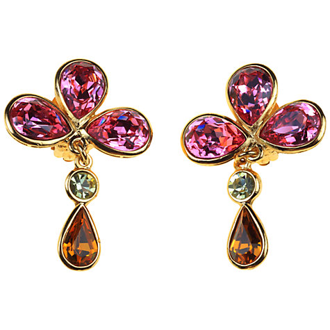 Buy Alice Joseph Vintage 1980s Yves St Laurent  Pink Swarovski Crystal Clip On Earrings Online at johnlewis.com