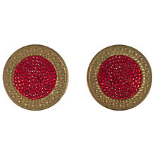 Buy Eclectica 1980s Richard Kerr Round Paste Clip-On Earrings, Red / Gold Online at johnlewis.com