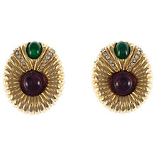 Buy Eclectica Vintage 1980s Ciner Double Cabochon Gold Plated Clip-On Earrings Online at johnlewis.com