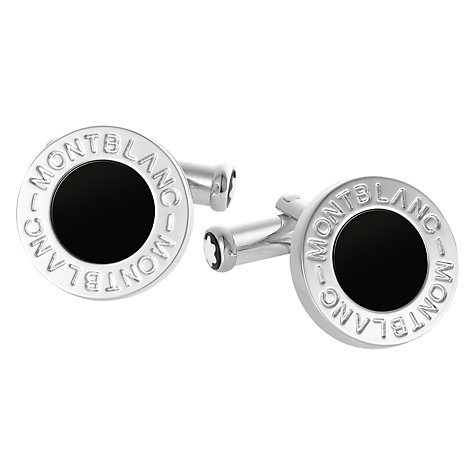 Buy Montblanc Round Onyx Stainless Steel Cufflinks, Black/Silver Online at johnlewis.com