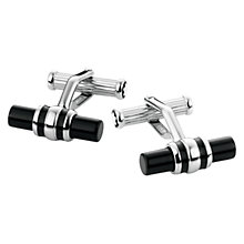 Buy Montblanc Platinum Finished Onyx Bar Cufflinks, Silver/Black Online at johnlewis.com