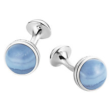 Buy Montblanc Blue Lace Agate Stainless Steel Cufflinks, Blue Online at johnlewis.com