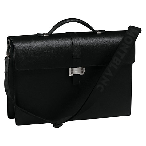 Buy Montblanc Westside Single Gusset Leather Briefcase, Black Online at johnlewis.com