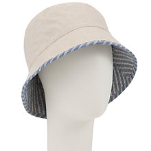 Buy John Lewis Linen & Cotton Reversible Striped Sun Hat, Blue Online at johnlewis.com