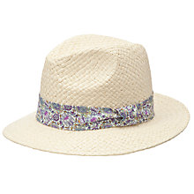 Buy John Lewis Fedora Straw Hat, Neutral Online at johnlewis.com