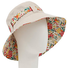 Buy John Lewis Floppy Linen & Cotton Mix Summer Hat With Floral Trim, Natural Online at johnlewis.com