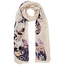 Buy Lola Rose Polka Dot & Floral Print Scarf, Taupe/Purple Online at johnlewis.com