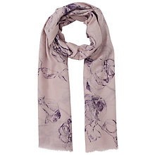 Buy Lola Rose Line Drawn Rose Print Wool Scarf, Purple Online at johnlewis.com