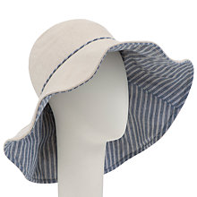 Buy John Lewis Linen & Mix Wide Brim Reversible Sun Hat, Natural/Blue Online at johnlewis.com