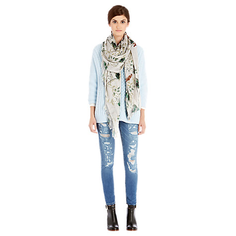 Buy Warehouse Lily of the Valley Print Scarf, Beige Online at johnlewis.com