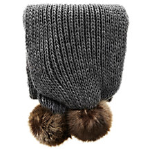 Buy Warehouse Pom Pom Scarf, Dark Grey Online at johnlewis.com