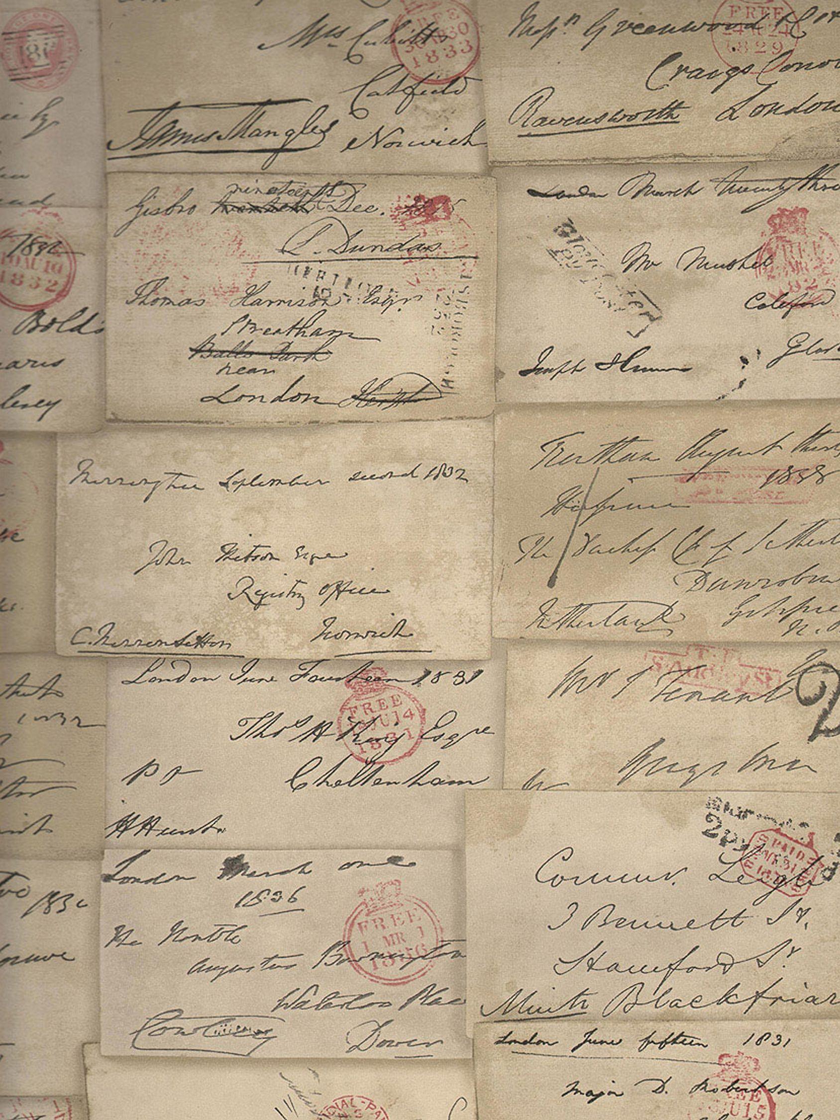Andrew Martin Love Letter Parchment Wallpaper