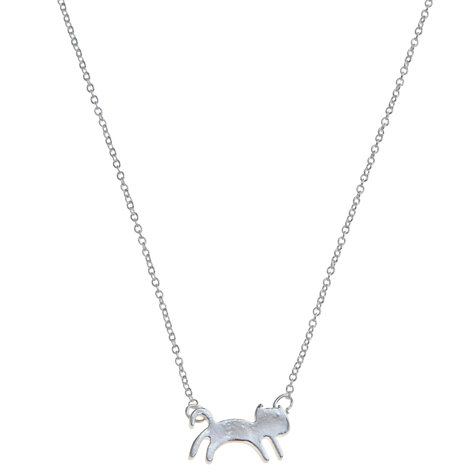 Buy Little Ella Cat Silver-Plated Necklace, Silver Online at johnlewis.com