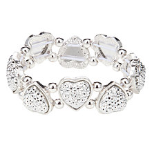 Buy John Lewis Girl Heart Stretch Bracelet, Silver Online at johnlewis.com