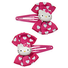 Buy John Lewis Girl Hello Kitty Bow Clips, Pack of 2, Pink Online at johnlewis.com