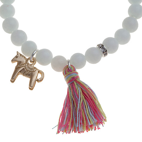 Buy Little Ella Girls' Horse Tassel Charm Bracelet, White Online at johnlewis.com