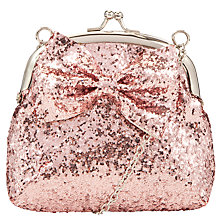 Buy John Lewis Girl Crunch Glitter Bow Purse Bag, Pink Online at johnlewis.com