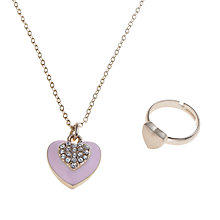 Buy John Lewis Girl Heart Locket Necklace and Ring Set, Pink Online at johnlewis.com