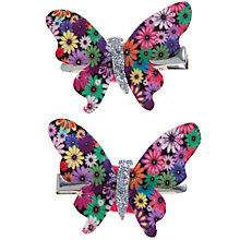 Buy John Lewis Girl Floral Print Butterfly Clips, Pack of 2, Multi Online at johnlewis.com