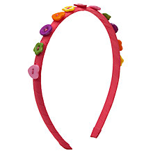 Buy John Lewis Girl Button Grograin Alice Band, Multi Online at johnlewis.com