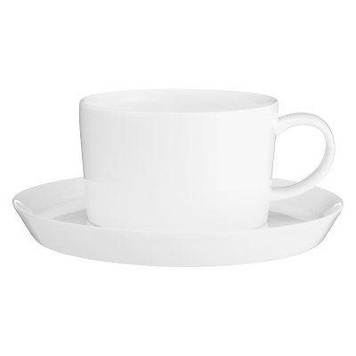 John Lewis Cornet Bone China Tea Cup and Saucer, White