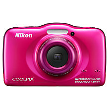 "Buy Nikon Coolpix S32 Waterproof Digital Camera, HD 1080p, 13.2MP, 3x Optical Zoom, 2.7""Screen, Pink with Memory Card Online at johnlewis.com"