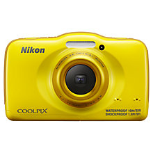 "Buy Nikon Coolpix S32 Waterproof Digital Camera, HD 1080p, 13.2MP, 3x Optical Zoom, 2.7"" Screen, Yellow with Memory Card Online at johnlewis.com"