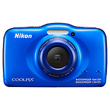 "Buy Nikon Coolpix S32 Waterproof Digital Camera, HD 1080p, 13.2MP, 3x Optical Zoom, 2.7"" Screen, Blue with Memory Card Online at johnlewis.com"