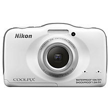 "Buy Nikon Coolpix S32 Waterproof Digital Camera, HD 1080p, 13.2MP, 3x Optical Zoom, 2.7"" Screen, White with Memory Card Online at johnlewis.com"