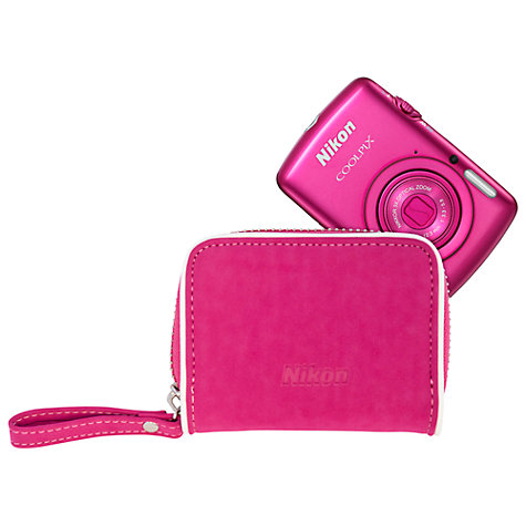 "Buy Nikon Coolpix S01 Digital Camera, HD 720p, 10.1MP, 3x Optical Zoom, 2.5"" LCD Touch Screen with Camera Bag Online at johnlewis.com"