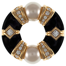 Buy Eclectica 1980s Swarovski Faux Pearl and Emamel Round Brooch, Gold / Black Online at johnlewis.com