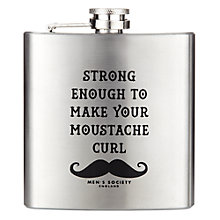 Buy Men's Society Moustache Print Stainless Steel Hip Flask Online at johnlewis.com