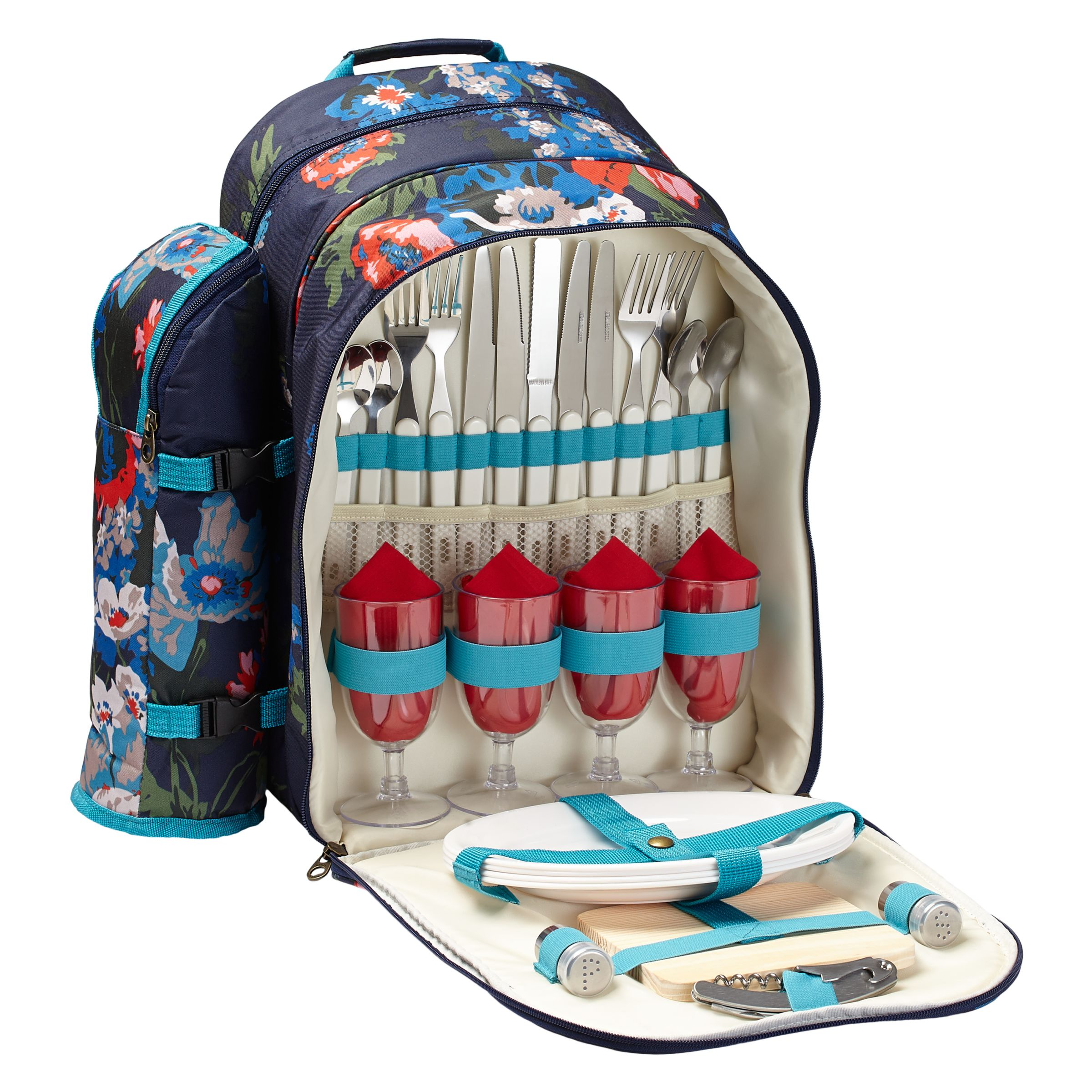 Joules Floral Filled Picnic Backpack, 4 Persons