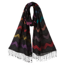 Buy East Wave Stripe Scarf, Black Online at johnlewis.com