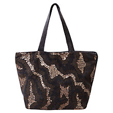 Buy East Sequin Velvet Tote, Navy Online at johnlewis.com