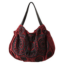 Buy East Cornelli Velvet Bag, Merlot Online at johnlewis.com