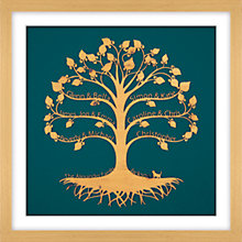 Buy Urban Twist Personalised Family Tree with Cat Framed 3D Cut-out, 52 x 52cm Online at johnlewis.com