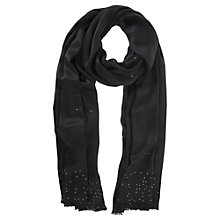 Buy Mint Velvet Crystal Trim Scarf, Black Online at johnlewis.com