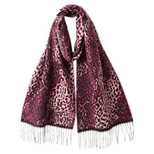 Buy East Animal Jacquard Scarf, Berry Online at johnlewis.com