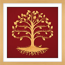 Buy Urban Twist Personalised Family Tree with Dog Framed 3D Cut-out, 52 x 52cm Online at johnlewis.com