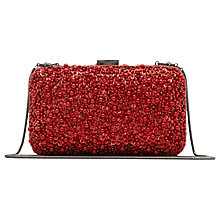 Buy Reiss Miro Beaded Box Clutch Bag, Red Online at johnlewis.com
