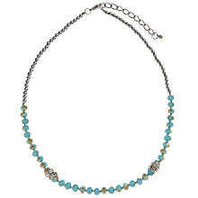 Buy John Lewis Silver Plated Faceted Bead Necklace, Teal Online at johnlewis.com