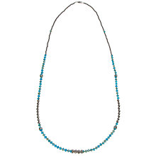 Buy John Lewis Silver Plated Faceted Bead Long Necklace, Teal Online at johnlewis.com