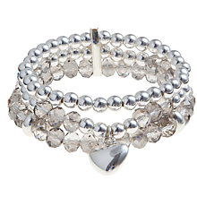 Buy John Lewis Silver Plated Triple Row Heart Charm Bracelet Online at johnlewis.com