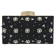 Buy Miss Selfridge Flower and Stud Hardcase Clutch Handbag, Black Online at johnlewis.com