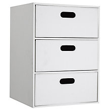 Buy John Lewis Faux Leather Drawer Unit, White, 3 Drawer Online at johnlewis.com